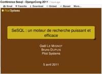 Publication des slides de présentation du moteur de recherche SeSQL pour DjangoCong 2011