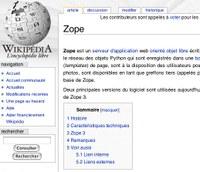 Zope et Plone sur Wikipédia